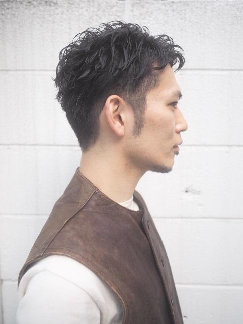 MEN`S ショート クール系パーマスタイル-サイド